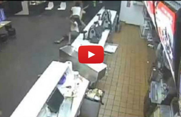 Brave McDonald's customers stop robber