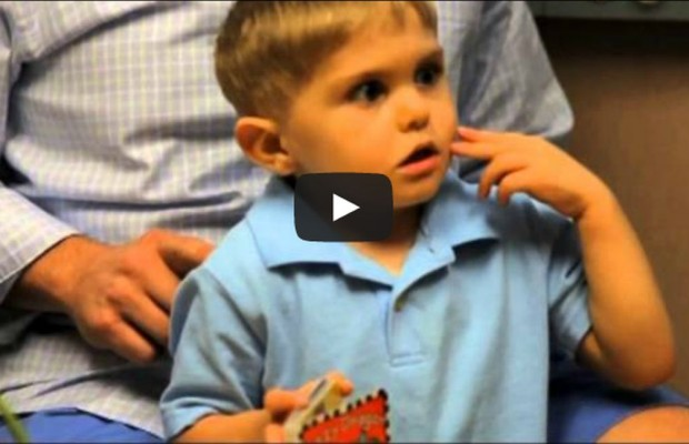 Deaf boy hears dad for first time